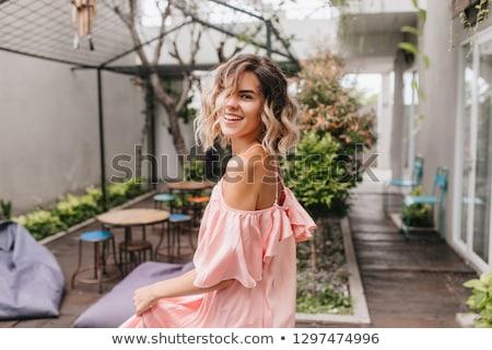 Jonge blond vrouw comfortabel terras genieten Stockfoto © dashapetrenko