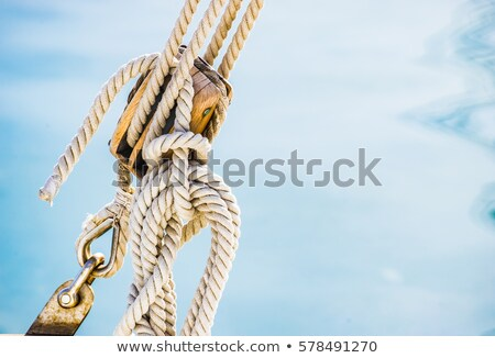 boat classic pulley from sailboat in mediterranean stock photo © lunamarina