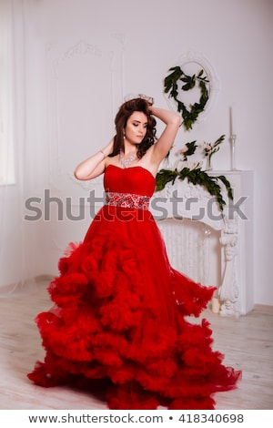 Sensueel vrouw rode jurk dame mode Stockfoto © konradbak