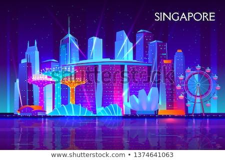 Cingapura · backlight · silhueta · centro · da · cidade · núcleo - foto stock © blamb