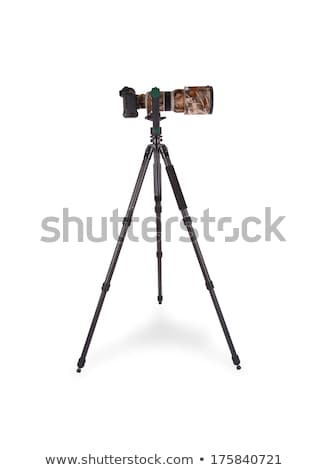 Stock photo: Long camouflaged professional supertele on tripod