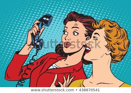 Two pop art girlfriends talking, comic art illustration Stock photo © balasoiu