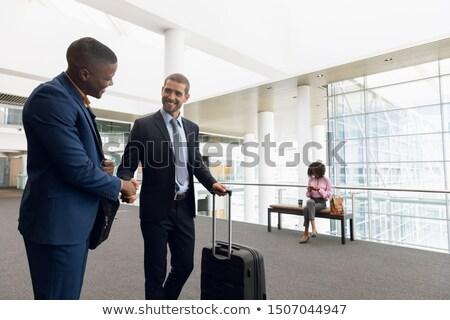 pak · zakenman · vriendelijk · handdruk · stropdas - stockfoto © dgilder