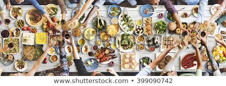 ビュッフェ · 食品 · 伝統的な · 表 · 結婚式 · 鶏 - ストックフォト © neillangan