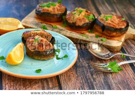 Friss ehető gomba champignon petrezselyem zöld Stock fotó © stevanovicigor