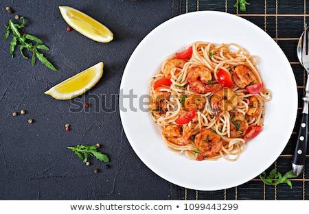 spagetti · tányér · paradicsomszósz · izolált · fehér · hal - stock fotó © Antonio-S