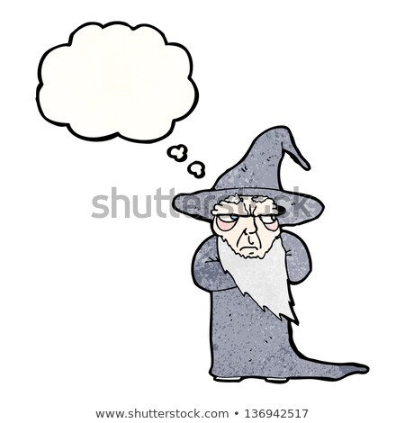 cartoon old wizard with thought bubble Stock photo © lineartestpilot
