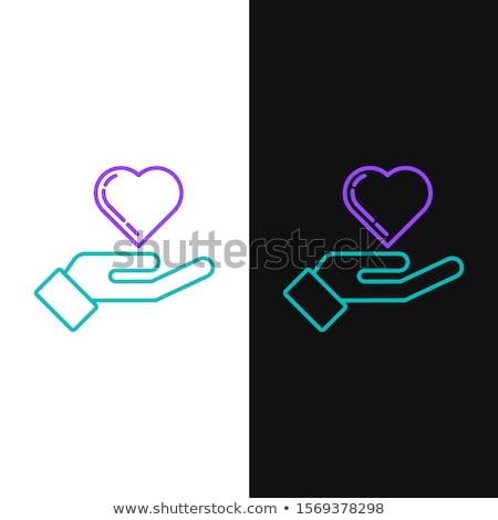 Beschermd teken paars vector icon ontwerp Stockfoto © rizwanali3d