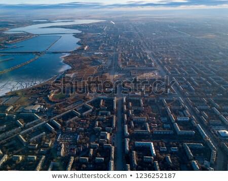 Rendkívül részletes légi városkép házak kertek Stock fotó © slunicko
