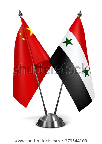 China Syrië miniatuur vlaggen geïsoleerd witte Stockfoto © tashatuvango
