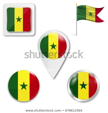 Praça metal botão bandeira Senegal isolado Foto stock © MikhailMishchenko