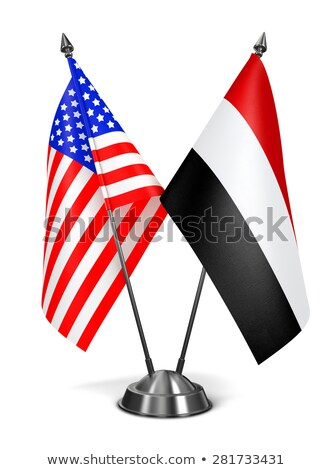 США Йемен миниатюрный флагами изолированный белый Сток-фото © tashatuvango