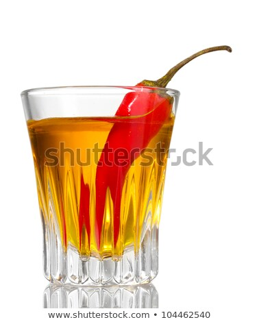 Fles wodka peper glas geïsoleerd witte Stockfoto © tetkoren