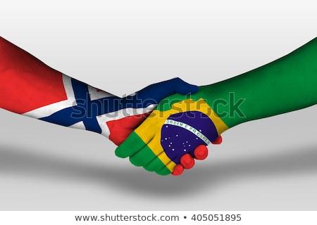 Brésil Norvège drapeaux puzzle isolé blanche Photo stock © Istanbul2009