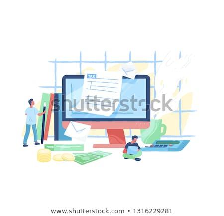 Сток-фото: Filling Tax Return On Desktop