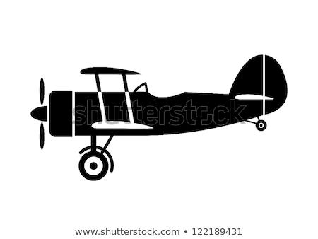 Kétfedelű repülőgép sziluett vadászrepülő repülőgép szárnyak grafikus Stock fotó © Bigalbaloo