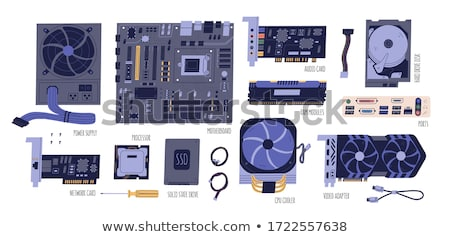 electronic collection   computer motherboard with cpu cooler stock photo © nemalo