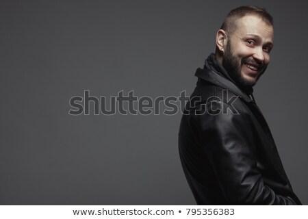 sorridente · velho · casual · homem · jaqueta · de · couro · mãos - foto stock © feedough