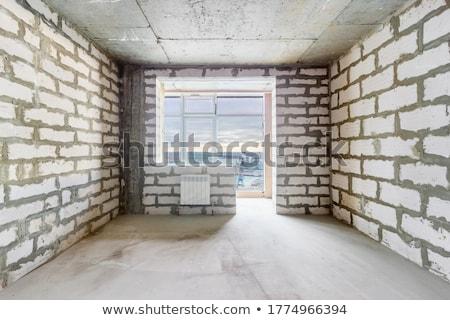 Befejezetlen épület építkezés építkezés narancs városi Stock fotó © jordanrusev