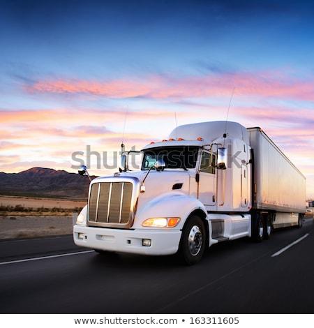 old trailer truck in motion on freeway stock photo © stevanovicigor