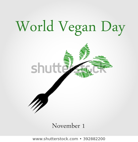 Seedling from a fork- World vegan day November 1  Stock photo © shawlinmohd