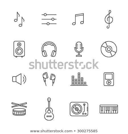 loudspeakers with music notes line icon stock photo © rastudio