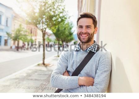 Heureux jeune homme barbe moustache personnes hommes Photo stock © dolgachov
