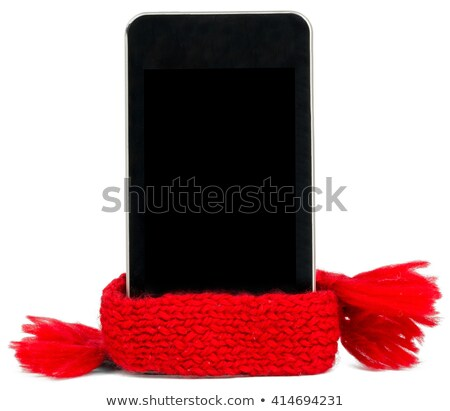 Smartphone with red scarf. Service concept Stock photo © cherezoff
