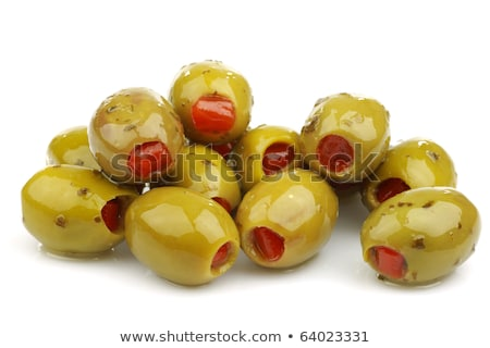 recheado · verde · azeitonas · tigela · vermelho · pimenta - foto stock © digifoodstock