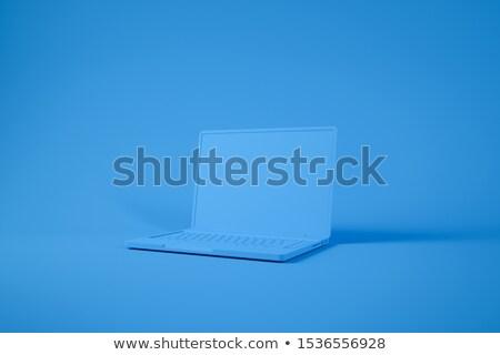 Niebieski laptop ilustracja biały komputera Internetu Zdjęcia stock © bluering