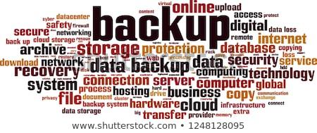 Biztonsági mentés szó iskola tábla számítógép fa Stock fotó © fuzzbones0
