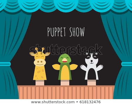 Children perform puppet show on stage Stock photo © bluering