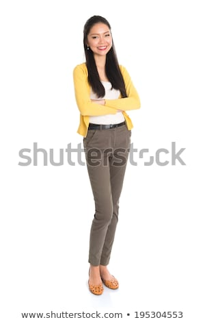 üzletasszony · mosolyog · izolált · mutat · copy · space · fehér - stock fotó © szefei