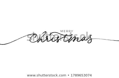 Vidám karácsony retro kéz üdvözlőlap terv Stock fotó © zsooofija