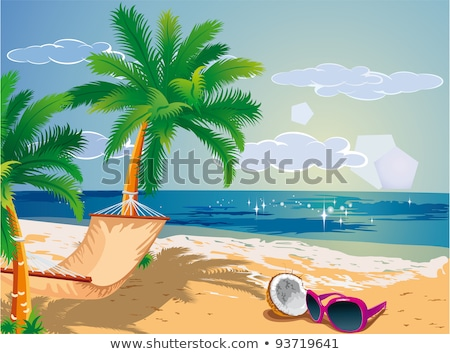 beach scene with hammock on coconut trees stock photo © bluering