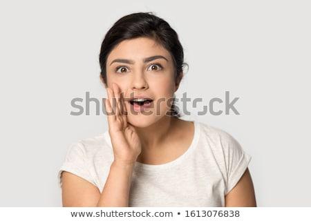 謎 女性 手 顔 見える カメラ ストックフォト © deandrobot