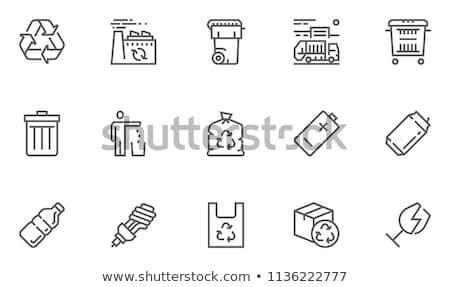 Zdjęcia stock: Odpadów · recyklingu · line · ikona · wektora · odizolowany