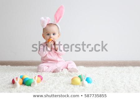 pequeno · bebê · piso · retrato · asiático - foto stock © deandrobot