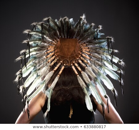 Rear View of Indian Chief War Bonner Stock photo © courtyardpix