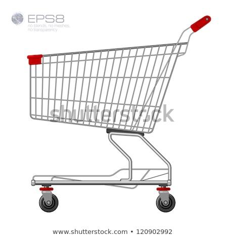 Foto stock: Carrinho · de · compras · isolado · supermercado · assinar · ícone · vetor