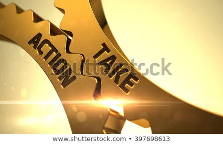 take action on the golden cogwheels 3d illustration stock photo © tashatuvango