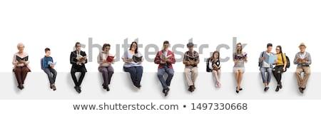 человека сидят чтение книга бизнесмен путешествия Сток-фото © IS2