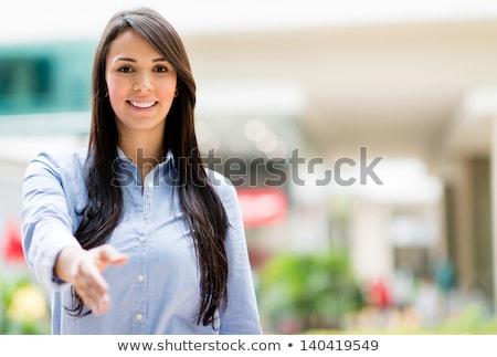 karşılama · kadın · tebrik · genç · kadın · ayakta - stok fotoğraf © vlad_star