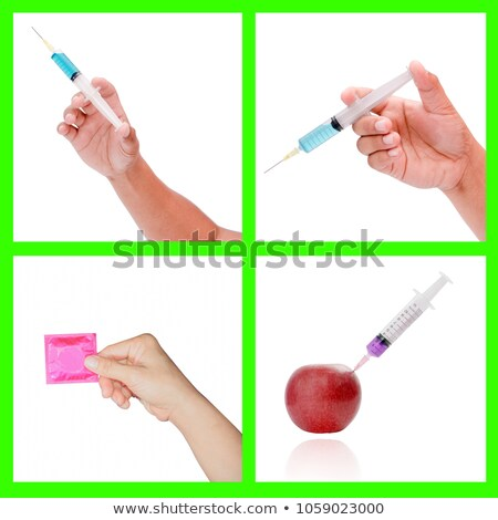 Woman doctor hold condom and injection Stock photo © Traimak