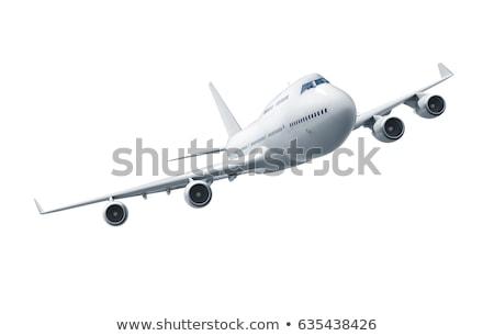 Ilustração 3d avião voador isolado azul viajar Foto stock © anadmist