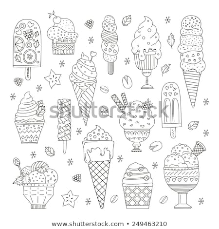 Doodle ice cream collection  isolated in black and white for col Stock photo © balasoiu