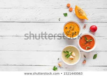 Stockfoto: Homemade Assorted Soups With Ingredients