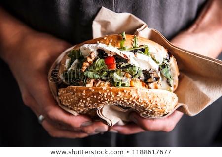 hamburger · ingrediënten · geïsoleerd · witte · vlees · lunch - stockfoto © melnyk