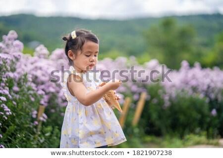 ázsiai nő kint tavaszi virág virág káprázatos Stock fotó © artfotodima