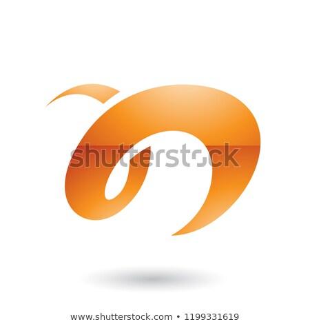 Orange Glossy Curvy Fun Letter N Vector Illustration Stock photo © cidepix